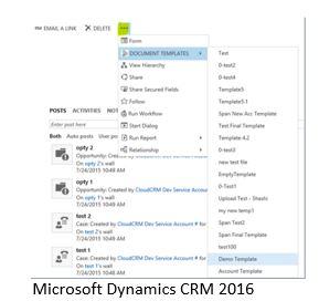 Microsoft Dynamics CRM 2016 generacion documentos